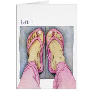 Pies rosados hola de tarjeta