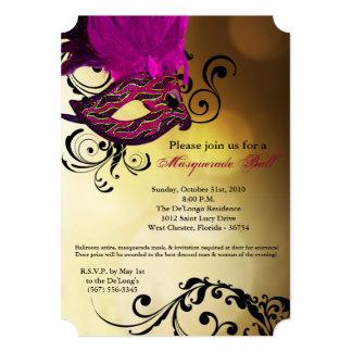 Pieza rosada de Halloween del traje de la máscara Invitación 12,7 X 17,8 Cm