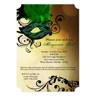 Pieza verde de Halloween del traje de la máscara Invitación 12,7 X 17,8 Cm