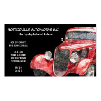 Piezas automotrices y coche clásico rojo de Hotrod Tarjetas De Visita