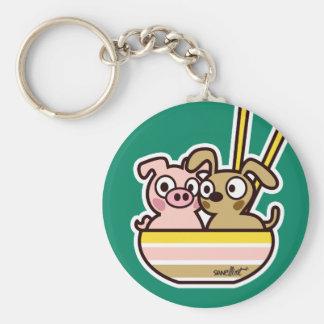 Pig and Dog Keychain Llavero Redondo Tipo Chapa