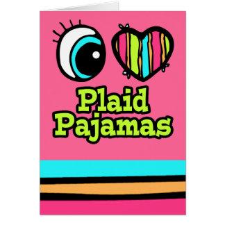 Pijamas brillantes de la tela escocesa del amor tarjeta de felicitación