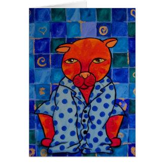 Pijamas de los gatos tarjeta de felicitación