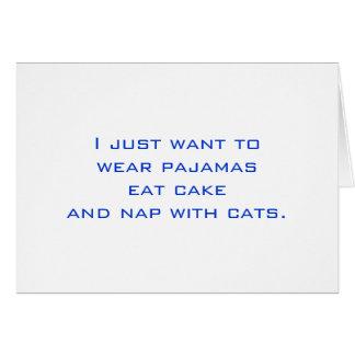 Pijamas, torta, siesta, gatos tarjeta pequeña