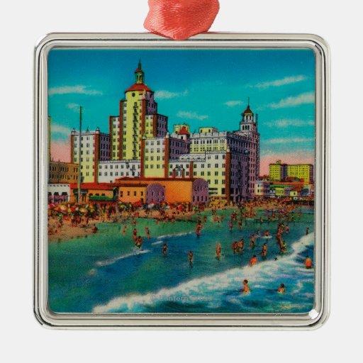 Pike delantero y playa de baño, Long Beach Ornamento Para Arbol De Navidad
