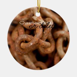 Pila de cadenas oxidadas; Personalizable Adorno Redondo De Cerámica
