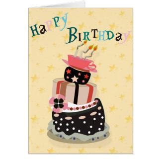 Pila de la torta de las tarjetas del feliz cumplea