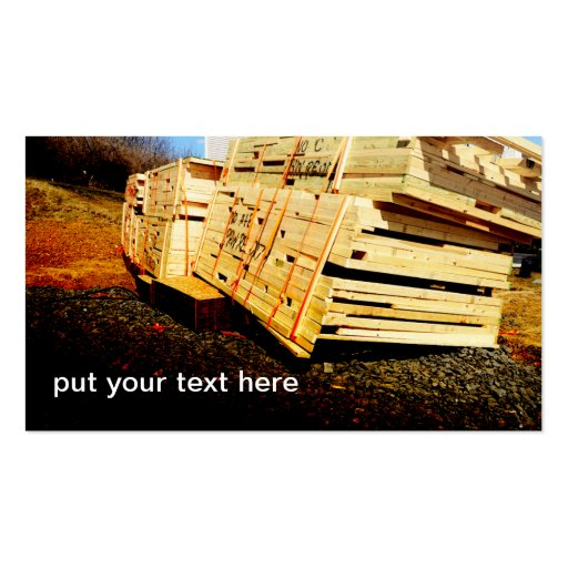 pila grande de tablones de madera tarjeta personal