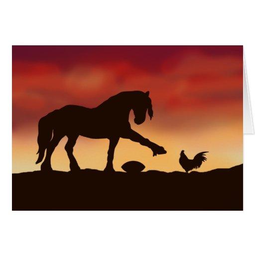 Pilar del fútbol del caballo y del gallo felicitación