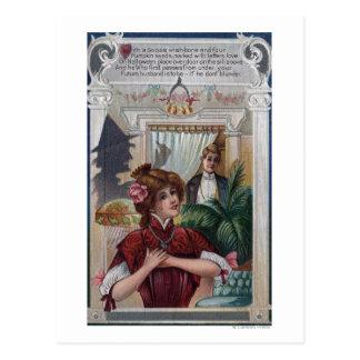 Pilares de la mujer y del hombre en lados postal