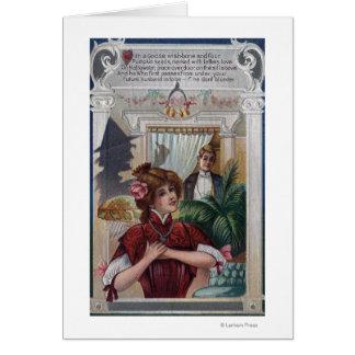 Pilares de la mujer y del hombre en lados tarjeta de felicitación
