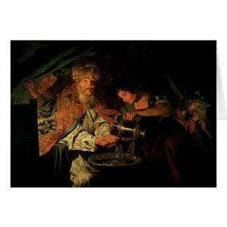 Pilate que se lava las manos (aceite en lona) tarjeta de felicitación