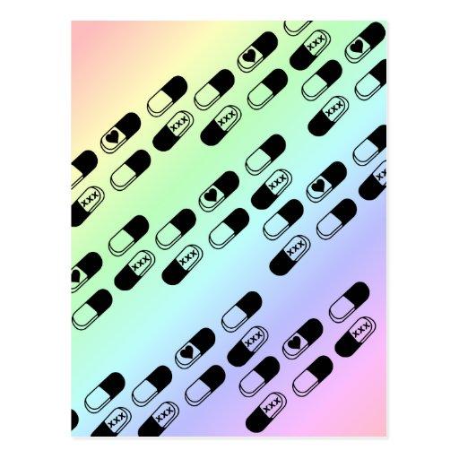 Píldoras en fondo en colores pastel del arco iris postales