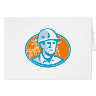 Pilones del ingeniero del trabajador de construcci tarjeta de felicitación