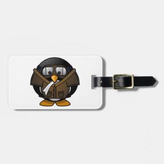 Piloto de los regalos del pingüino etiquetas para maletas