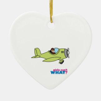 Piloto del aeroplano - medio adorno navideño de cerámica en forma de corazón