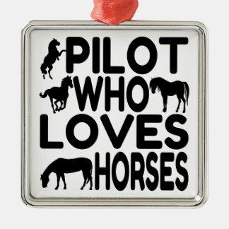 Piloto del amante del caballo adorno navideño cuadrado de metal