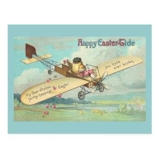 Piloto feliz del polluelo del vintage de la multa postal