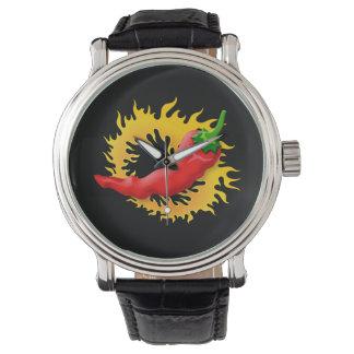 Pimienta con la llama reloj de pulsera