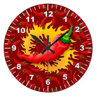 Pimienta con la llama reloj redondo grande