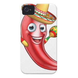 Pimienta de chiles mexicana con Maracas y el Carcasa Para iPhone 4 De Case-Mate