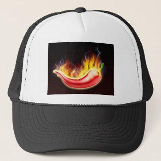 Pimienta de chiles rojos caliente llameante gorra de camionero