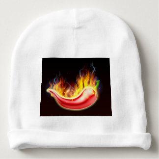 Pimienta de chiles rojos caliente llameante gorrito para bebe
