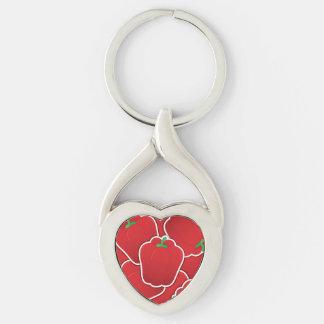 Pimienta roja enrrollada llavero plateado en forma de corazón