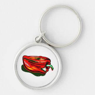 Pimienta roja garabateada llavero redondo plateado