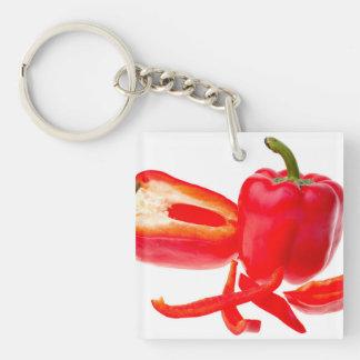 Pimienta roja llavero cuadrado acrílico a doble cara