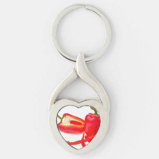 Pimienta roja llavero plateado en forma de corazón