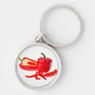 Pimienta roja llavero redondo plateado