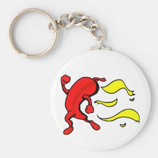 Pimienta roja que funciona con las llamas amarilla llaveros personalizados