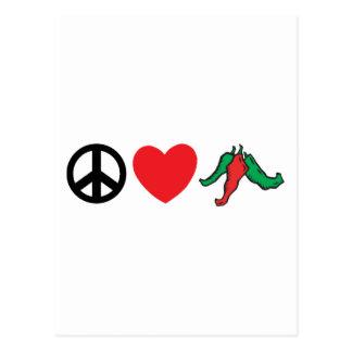 Pimientas de Chile del amor de la paz