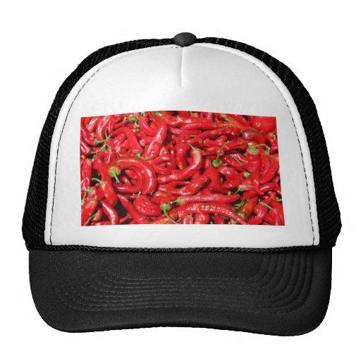 Pimientas de chile rojo calientes al aire libre en gorros bordados
