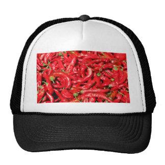 Pimientas de chile rojo calientes al aire libre en gorras