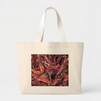 Pimientas de chile secadas bolsa de tela grande