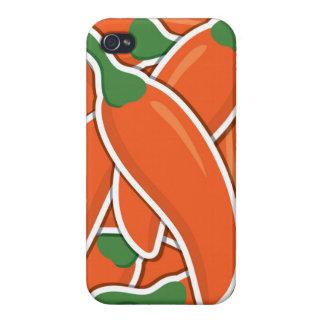 Pimientas de chiles anaranjadas enrrolladas iPhone 4 protectores