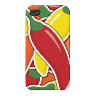 Pimientas de chiles mezcladas enrrolladas iPhone 4 carcasas