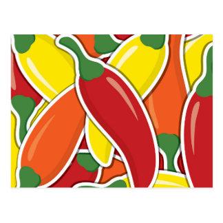 Pimientas de chiles mezcladas enrrolladas postal
