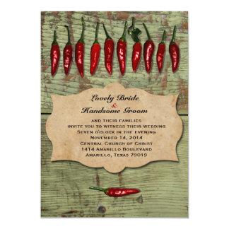 Pimientas rústicas del vintage mexicano que casan invitación 12,7 x 17,8 cm