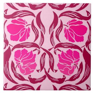 pimpernel de william morris fucsia y rosa claro azulejo cuadrado grande