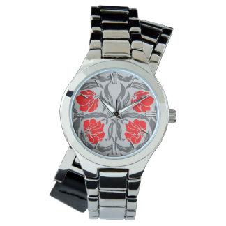 Pimpernel, gris plateados y rojo de William Morris Reloj