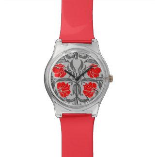 Pimpernel, gris plateados y rojo de William Morris Reloj De Pulsera