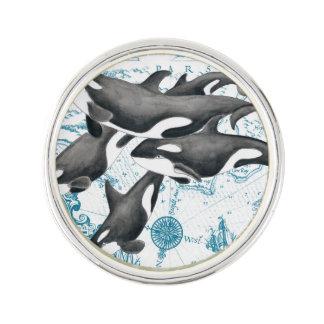 Pin Azul antiguo de la familia de las ballenas de la