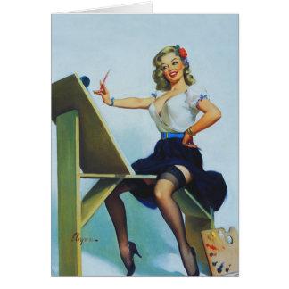 Pin clásico de los años 50 de Elvgren encima del Tarjeta De Felicitación