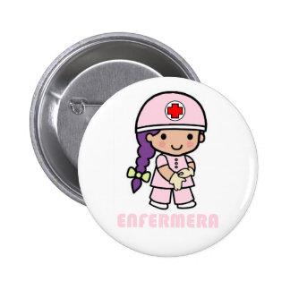 Pin con dibujo de enfermera chapa redonda de 5 cm