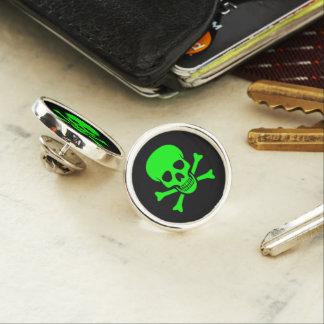 Pin Cráneo verde y bandera pirata
