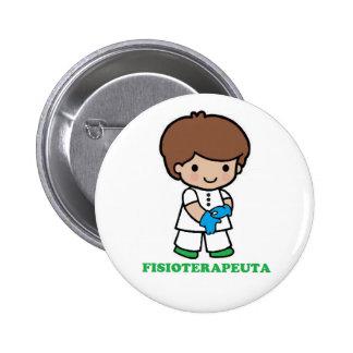 Pin de chico fisioterapeuta chapa redonda de 5 cm