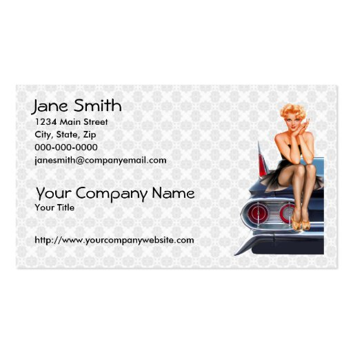 Pin de coche de carreras encima del chica tarjetas de negocios